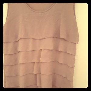 Mauve, ruffled, sleeveless top